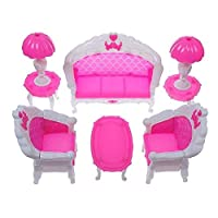 Barbie Sindy doll sized Pink Living room Furniture Set: Sofa, Chairs, Tables & Lamps - posted from London By Fat-Catz-copy-catz