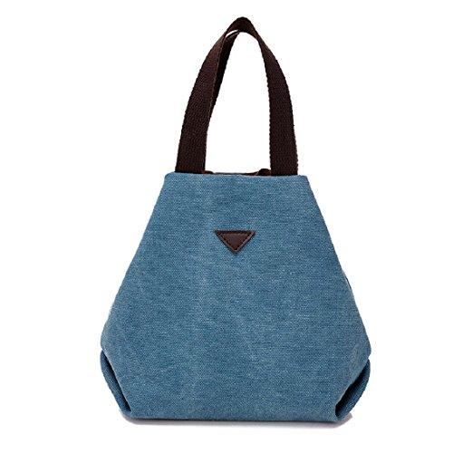 Transer Women Shoulder Bag Popular Girls Hand Bag Ladies Canvas Handbag, Borsa a spalla donna 18cm(L)*19(H)*11cm(W), Grey (Multicolore) - YHL60716185 Blue