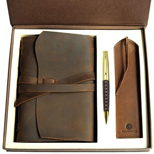 tizbuch Journal Geschenk Set mit Antik Leder Lesezeichen + Stift handgefertigt Schreiben 20x15cm ungefüttert ledergebundenes Tägliche Notizblock für Männer Frauen Reisetagebuch ()