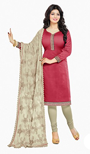 DnVeens Womens Heavy Embrodery Dupatta Unstiched Suit Dress Material (Red)