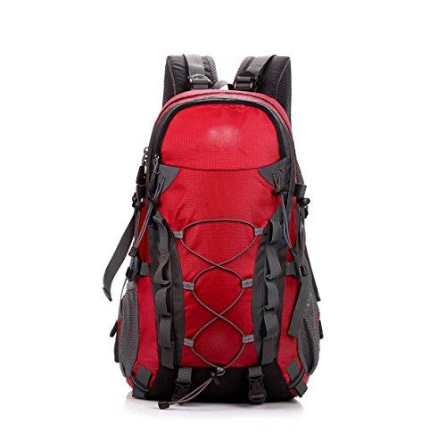 LQABW Außen Mountaineering 40L Große Kapazität Männer Und Frauen Wasserdicht Atmungs Rucksack Tasche Red