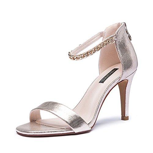 Chaîne creux été Dame de chaussures en daim peep-toe stiletto/Santals de haut talon A