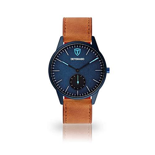 DETOMASO LAMPIONE Mens Quartz Watch Analogue Brown Leather Strap Blue dial DT1083-B-821