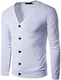 laamei Herren Strickjacke Pullover Knopf V-Ausschnitt Langarm Cardigan  Feinstrick Jacke 3144a163a7