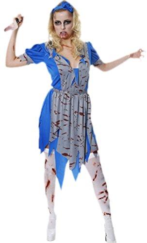 Kostüm Alice mit Schürze und Haarband, L, Blau (Böse Alice Kostüme)