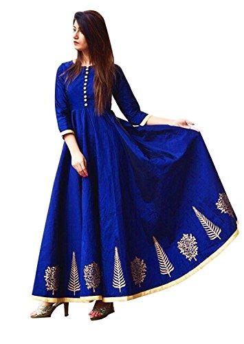 Soham Fabrics Women's Cotton Silk Embroidered Semi-Stitched Salwar Suit (Royal Blue)