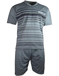 Herren Schlafanzug kurz Shorty T-Shirt bedruckt Hose uni 2 Typen in 6 Farben - Qualität von Lavazio®
