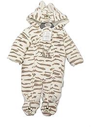 Babys Hooded Supersoft Cream MUMMYS LITTLE TIGER Snowsuit All In One (Newborn)
