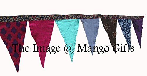 Mango Gifts Banderole superbe avec 12 fanions Grande Réversible en coton motif indien Thé Fête Bannières