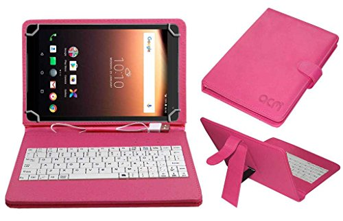 Acm USB Keyboard Case Compatible with Alcatel A3 10 Tablet Cover Stand with Free Micro USB OTG - Pink