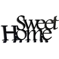 Galleksa Portachiavi da Parete Appendiabiti Chiave Ganci Portachiavi Sweet Home Nero