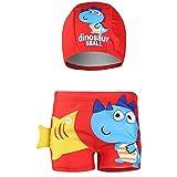 IPBEN Pantaloncini da Bagno Bambino Ragazzini nuotano bauli Nuotare Pugili per Bambini Costume Stampato Dinosauro del Granchio del Fumetto 3D