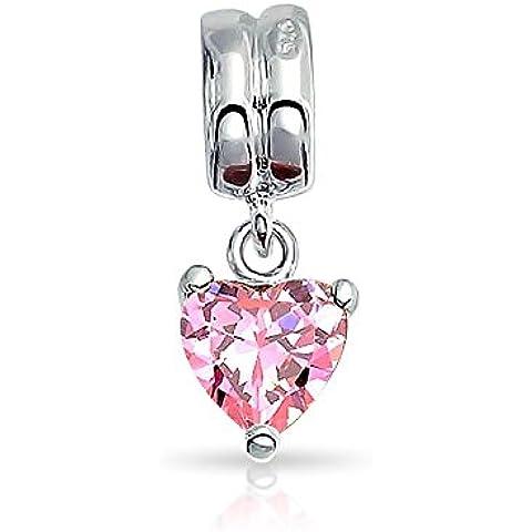Bling Jewelry 925 Rosa CZ ciondola Cuore Pandora Compatibile