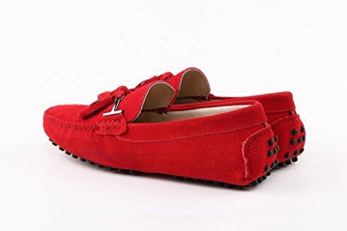 Men's Minitoo Nouvelle chass'en daim pour chaussures bateau Loafers Penny de conduite Rosso (rosso)