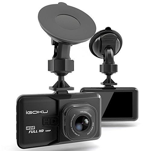 Caméra Embarquée 1080P Full HD 3.0'',Dash Cam Caméra de Voiture IGOKU Grand Angle 120°Enregistreurs DVR Vidéo 24 heures de surveillance, Capteur-G, Enregistrement en Boucle