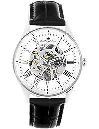 Lindberg & Sons CHP150 - Reloj análogico para hombre de pulsera (esqueleto automático), correa de cuero negra