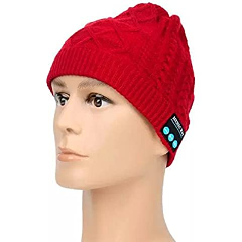 Bluetooth Beanie Hat – Megadream invierno cálido desmontable inalámbrico Bluetooth Auricular Auriculares de música MP3 audio Beanie Hat Cap con manos libres llamada + Mic + respuesta botón + botones de Control de volumen lavable Fitness al aire libre unisex gorro de invierno de punto con ganchillo baggy boina Beanie Cap para dispositivos Bluetooth permiten, 5 colores disponibles, color Red Music Hat, tamaño For Bluetooth Enable Devices