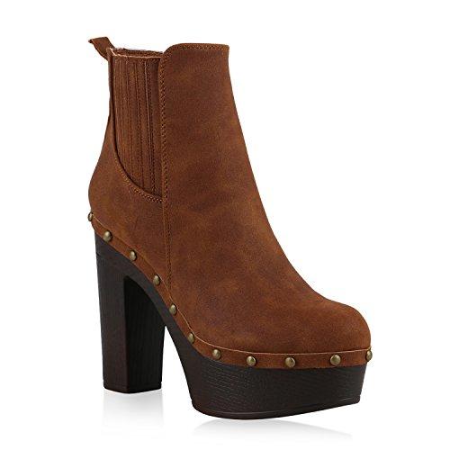 Damen Stiefeletten Plateau Boots 70s High Heels Blockabsatz Nieten Hellbraun