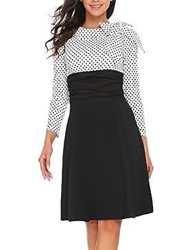 Meaneor Damen 50er Vintage Rockabilly Kleid Elegant Abendkleid Cocktailkleid Polka Dots Langarm Kleid Kontrastfarbe...