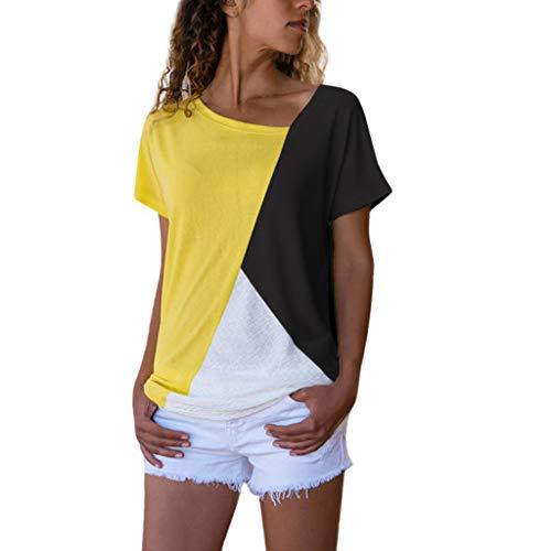 Dhyuen Damenmode T-Shirt Farbblock Patchwork Kurzarm V-Ausschnitt Hemd Lässige Bluse Tops