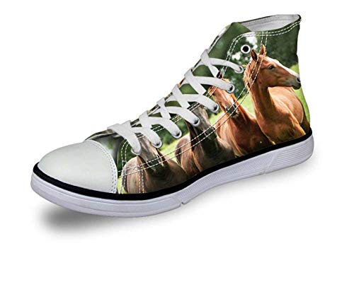 Animal Print Women Men High Top Lace Up Trainers Canvas Shoes Size UK2-8 Fashion Four Horses CA5063AK UK 7\u002FEU40