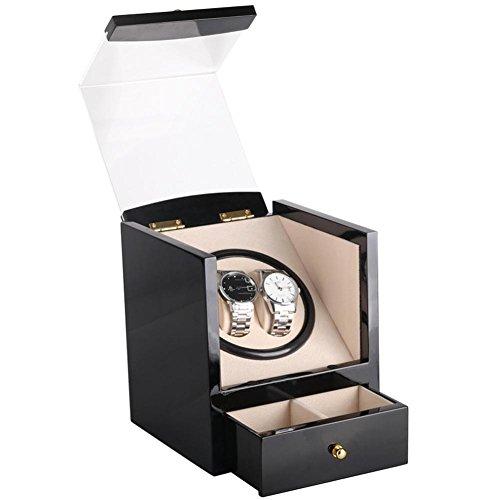 Automatische uhrenbeweger für 2 uhren,uhrenbox uhrenkoffer uhrenkasten mit schublade(plug-in oder 2 AA-batterien),18.3 * 18 * 21cm