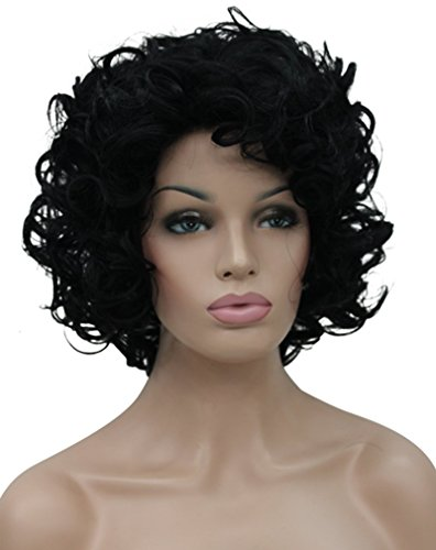 Kalyss Kurz Schwarze Curly Perücken Frauen Damen Dunkel Wavy Curly Wig (Schwarze Kurze Perücke Lockige)