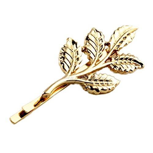 1 x Mode Lovely feuilles en métal or punk cheveux épingle à cheveux clip
