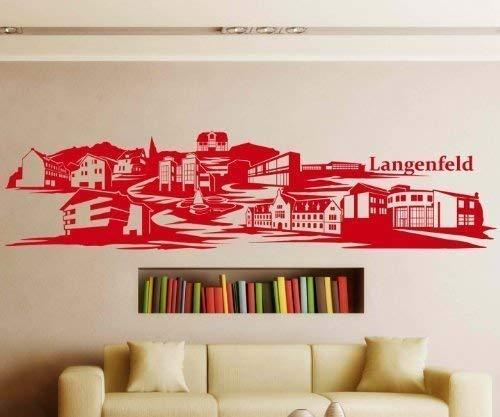 Wandtattoo Langenfeld Skyline XXL Aufkleber Wandaufkleber Deko Deutschland 1M187, Farbe:Königsblau Matt;Länge des Motives:170cm