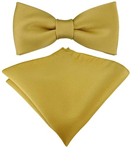 Set Kleinkinder Baby Fliege gold einfarbig mit Gummizug 29 bis 40 cm Halsumfang verstellbar + Einstecktuch + Aufbewahrungsbox