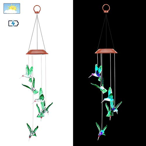 Ohwens Wind Chimes Light, Solar String Lights Color Changing LED Mobile Wind Chimes Waterproof Outdoor Wind Chimes, Easy to Use, Randomly Alternate Colors: Red, Blue, Purple, Orange and Green - Corinthian Bells