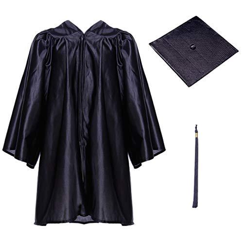 Talar, Talar Accessoires Hut Abschlussfeier Talar Robe Kit mit Quaste Abschlusshut für Kinder, Schwarz, 30''(110-120cm) ()
