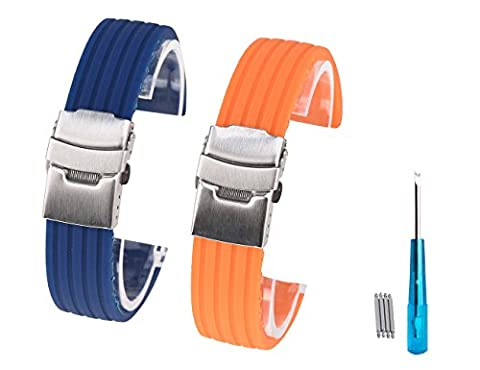 Randon Coque en silicone montre Bandes en caoutchouc souple Bracelet de montre avec fermoir en acier inoxydable, Lot de 2, bleu/orange