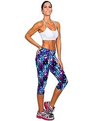 Vovotrade 1pc Nueva Womens fitness yoga pantalones de cintura alta deporte impreso Stretch cropped (Púrpura , Tamaño:L/28)