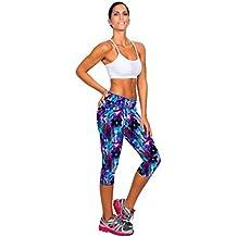 Vovotrade 1pc Nueva Womens fitness yoga pantalones de cintura alta deporte impreso Stretch cropped (Púrpura , Tamaño:S/26)