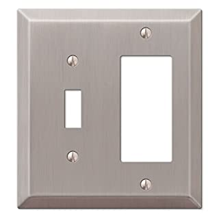 Amerelle 163TRBN Century Steel Toggle 1 Rocker Wallplate, Brushed Nickel