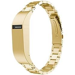 Zolimx Pulsera de Reemplazo de Banda de Muñeca de Correa de Acero Inoxidable Para Fitbit Flex (Oro)