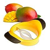 Relaxdays Mangoschneider, Mango teilen & entkernen, rutschfester Griff, Edelstahl-Klinge, Mango Slicer, schwarz-gelb