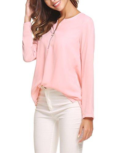 Plunge Damen Blusen Tuniken Elegant Blusenshirt Langarmshirt Rundhals Oberteile T-Shirt mit Reißverschluss Vorne Rosa