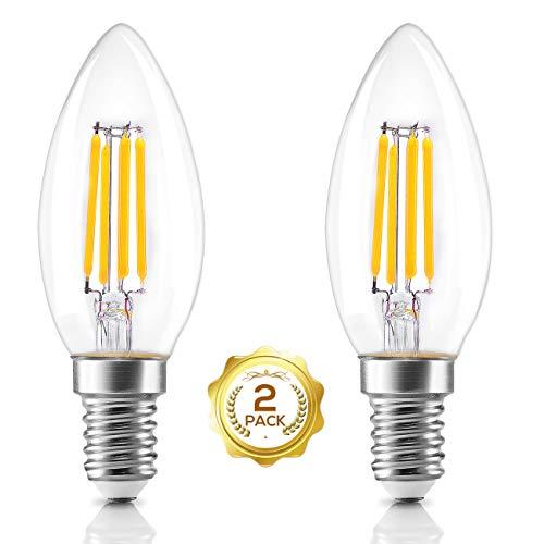 LED Glühbirne, AVAWAY E14 Vintage Kerzenlampen Warmweiß Glühlampe Retro 4W Led Leuchtmittel für Deckenleuchte Hängelampe Kronleuchter Dekoration Ersetzt 40 Watt (2er Pack) -
