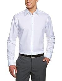 Seidensticker rose noire chemise à manches longues pour homme coupe slim en popeline de coton unie blanc taille/242930.01 38–44