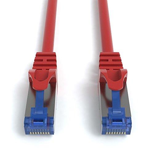 5m CAT.7 Netzwerkkabel (RJ45) Patchkabel Ethernet Lan in rot  10Gbit/s   600MHz   abwärtskompatibel zu CAT.5 / CAT.5e / CAT.6   von JAMEGA