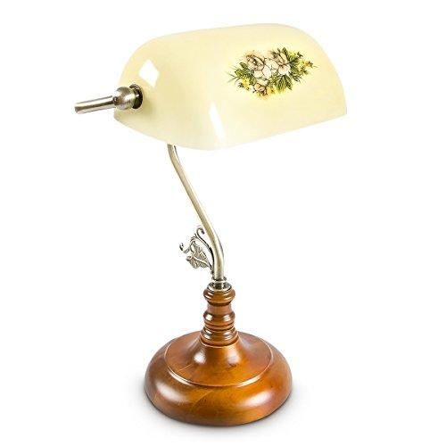 1 Licht Banker Lampe (Relaxdays Bankerlampe Shabby Tischlampe Landhaus Retro, circa 26,5 x 40 x 18 cm - E27, gelb 10016608)