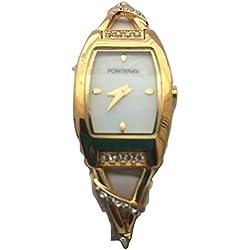Fontenay Damen 18kt vergoldet weiß Zifferblatt Stein Armreif Armbanduhr