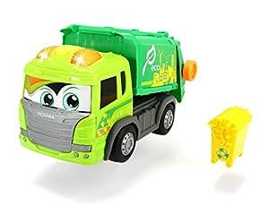 Dickie Toys 203814015 203814015-Happy Garbage - Camión de la Basura motorizado con luz, Sonido y Rueda Libre, 25 cm, Color Verde