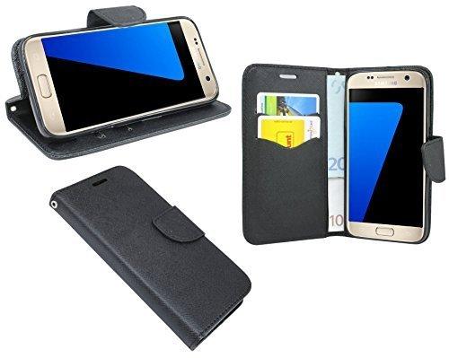 Preisvergleich Produktbild Samsung Galaxy S7 G930F // Buchtasche Hülle Case Tasche Wallet BookStyle Zubehör in Schwarz @ Energmix