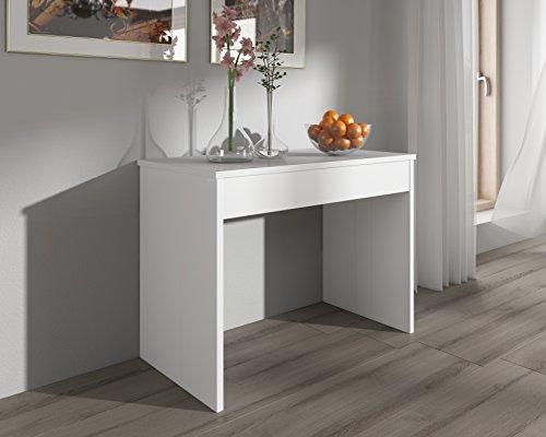 Home innovation table de salle à manger extensible jusquà 301 cm blanc brillant dimensions fermée 90x49x75 cm de hauteur
