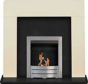 """Adam Miami Fireplace Suite in Cream and Granite with Colorado Bio Ethanol Fire in Brushed Steel, 48"""""""