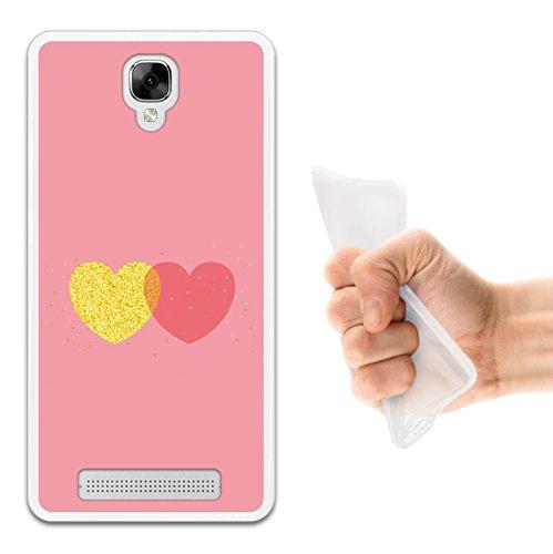 Doogee X10 Hülle, WoowCase Handyhülle Silikon für [ Doogee X10 ] Schickes Stil Herz, Gold und Rosen Handytasche Handy Cover Case Schutzhülle Flexible TPU - Transparent