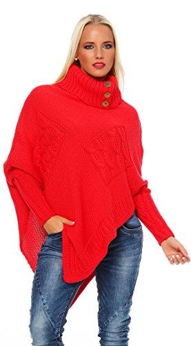 cho Strick Sweatshirt Pullover Umhang Überwurf Korall (Rot-poncho)